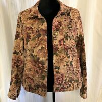 Caribbean Joe Women's Jacket, Floral Tapestry, Size XL, Gold, Rust and Green