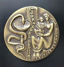 Medicine Caduceus Snake / Mother & Baby / Grapes Coat of Arms Bronze Medal! M58