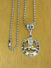 Western Cowboy Boot w/Horseshoe Pendant/Charm Necklace Silver-Tone Men's/Women