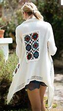 CARDIGAN Crocheted Boho Cowgirl Gypsy Western Softest Knit Sweater LARGE nwt
