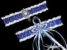 PLUS SIZE Set Royal Blue Glitter & White Satin GARTER + TOSS Prom Wedding Bridal