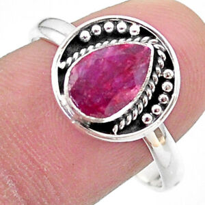 2.61cts Solitaire Natural Red Ruby Pear 925 Sterling Silver Ring Size 9.5 T28349