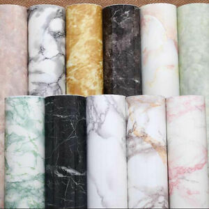 Kitchen Protective Wrap Film Glossy Marble Vinyl Cabinet Furniture  Wallpaper