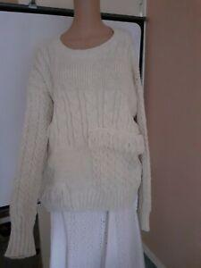 New Look Women's Aran Style Jumper,  Size L, Grey, BLU353