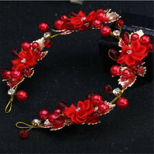 RED & GOLD CROWN/TIARA, CLEAR CRYSTALS &  RED PEARLS & FLOWERS, BRIDAL OR RACING