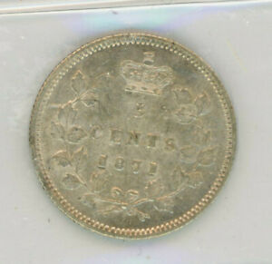1871 Canada Five Cents Silver Coin ICCS AU-50 Cert#YD661