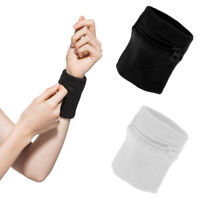 2x Athletic Sports Sweatbands Travel Wristbands Wrist Wallet Zipper Pocket