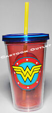 WONDER WOMAN TUMBLER CUP 16 OZ DOUBLE WALL WITH STRAW BPA FREE TRAVEL CUP DC