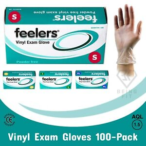 Disposable Gloves Vinyl Powder Free Latex Free Medical Food Safe S,M,L Boxed-100