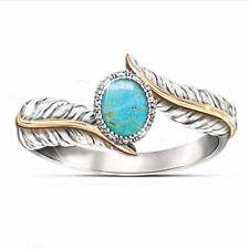 Princess 925 Silver-Filled Turquoise Leaf Ring Wedding Cocktail Jewelry Women's