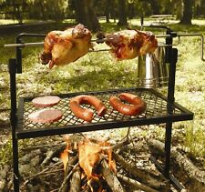 Chicken Rotisserie Campfire Grill Freestanding BBQ Grate Rack Coooking Camping