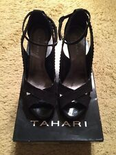 fd2026afd711 Tahari Black Open Toe Patent And Suede Heels