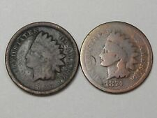 2 Early-Date Indian Head Pennies: 1863 & 1874 (Cleaned).  #27