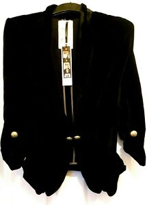 River Island Black Velvet/Velour 'Baroque Rock' Gothic/Victorian Blazer/Jacket 6