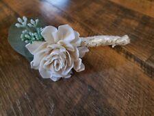 Sola Wood Cream Dahlia Boutonniere Artificial Flower Baby's Breath Wedding Prom