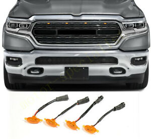 4x For Ram 1500 2019-2021 Yellow Front Grille LED Amber Light Raptor Style Cover