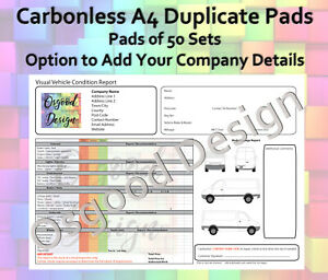 Visual Vehicle Condition Report Quote Van Company Carbonless Duplicate Book CP20