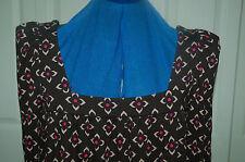 New 8 Square neck Black Diamond/Flower jersey tunic dress peak shoulder