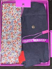 BNIB GIANNI FERAUD Cotton Slim Tie With Socks In Gift Box Set RRP £125