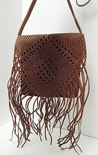 Moroccan Handmade Brown Tooled Leather Boho Fringe Whipstich Crossbody Bag