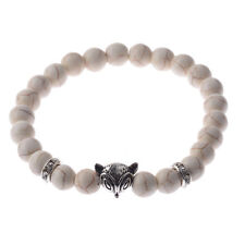 Charm Men's White Turquoise Agate Bracelet Beaded Fox Mala Bangle Bracelets