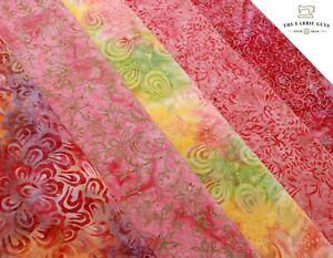 "Bali Indonesian Batik, Palm Tree Swirls Pink Lily 5 Col 100% Premium Cotton, 44"""