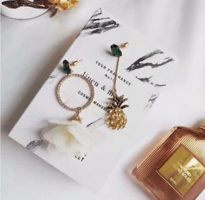 Gold Plated Long Dangle Pineapple White Flower Green Earrings