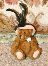 "6"" BOYDS BEARS COLLECTIBLE RETIRED VICTORIAN BEAR PLUSH w/ HAT & FEATHERS"