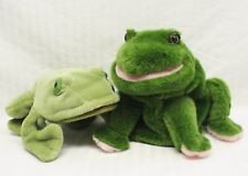 Lot of 2 Frog Plush Stuffed Toy Hand Puppets: Gund World Wildlife WWF & Other
