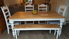 Exquisite Bespoke 6ft  Table And Chair/Bench Set - White/grey/off white/cream