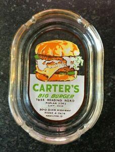 Carters Big Burger Advertising Ashtray Vintage Cincinnati Hamilton OH 4-Digit Ph