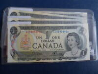 1973 Canada 1 Dollar Bank Note-Crow/Bouey-3 Digit Prefix-21-124