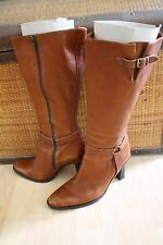 Vtg BANANA REPUBLIC Tall British Tan Leather High Stack Heel Classic Boots 8