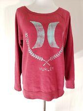 Hurley Size M Women's Burgundy Teal Boat Neck Sweatshirt O22