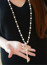 Chic Necklace Jewelry Key Pendant Pearl Long Crystal Rhinestone Chain Necklace