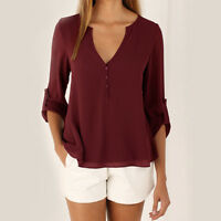 New Women's Long Sleeve Loose Blouse Chiffon Summer V Neck Casual T Shirt Tops