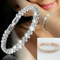 Ladies Silver Crystal Rhinestone Bangle Bracelet Wedding Bridal Jewelry Diamond