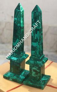 "18"" Marble Obelisks Set Of Two Egyptian Sculpture Handmade Malachite Inlay E1488"