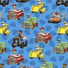 Paw Patrol Rescue Car Toss Blue 100% Cotton Fabric by the Yard
