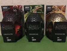Game of Thrones Mega Construx Dragon Eggs Drogon Rhaegal Viserion