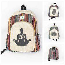 Printed Hemp Backpacks Handmade Boho Style Casual Travel Office School Hemp Bags