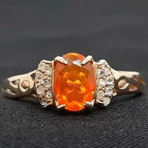 Genuine 1.00ctw Mexican Fire Opal & H-SI Diamond 14K Rose Gold 925 Silver Ring