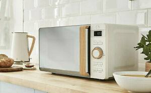 SWAN 20l Nordic Digital Microwave Wood Effect Handle Soft Touch Housing White