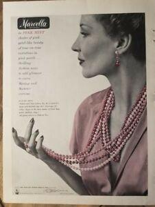 1949 Marvella Pink Mist beads necklace pearls vintage jewelry ad