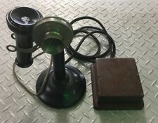 Antique Samson Candle Stick Telephone w/Ring Box Black Phone