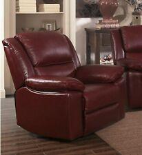 Burgundy Genuine Leather Recliner Armchair TOLEDO