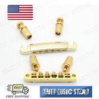 1 Set Golden LP Guitar Tune-o-matic Bridge Tailpiece fits Les Paul