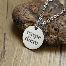 Strength Mantra Carpe Diem Coin Men Man Necklace Pendant Stainless Steel Jewelry