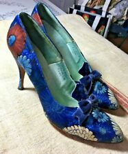 Saks Fifth Avenue Vintage Floral Fabric Shoes 50's-60's sz 7.5 Aa Exc Cond