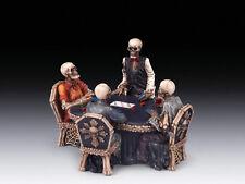 SKELETONS AT POKER TABLE SKULL FIGURINE STATUE  HALLOWEEN